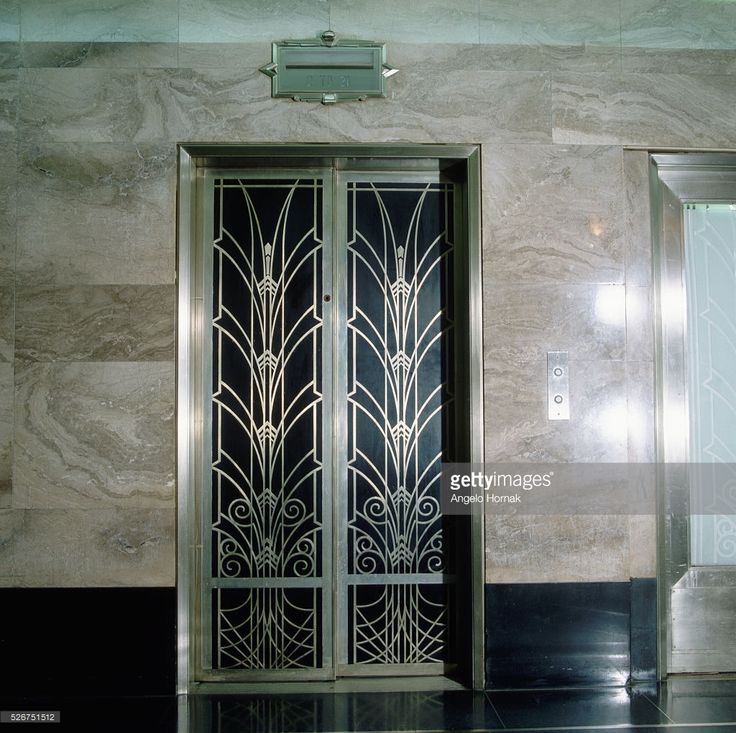 An Art Deco elevator door in the entrance lobby of 275 Madison ...