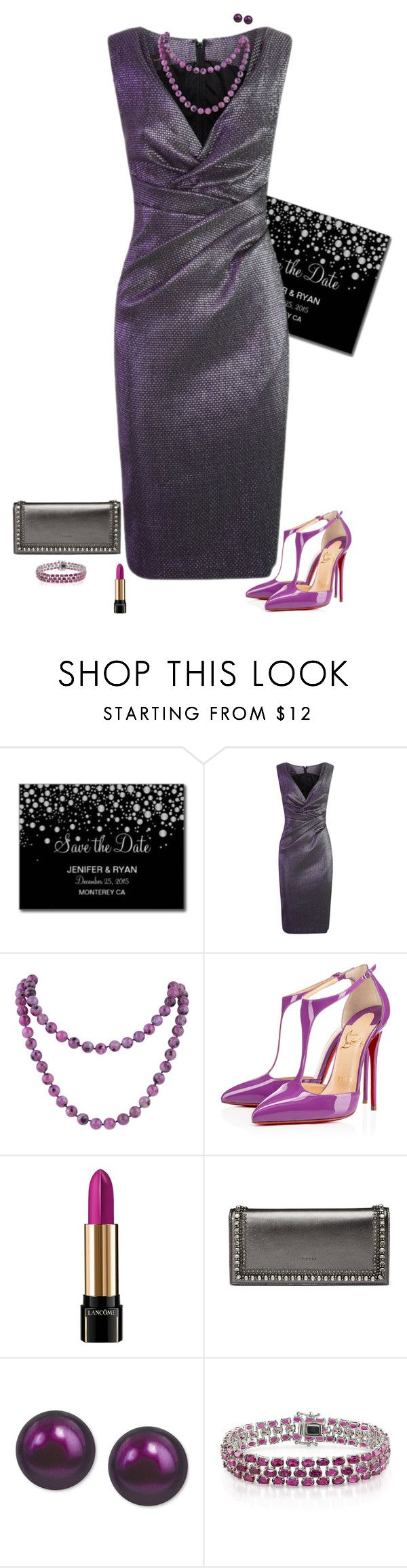 """Wedding guest"" by julietajj ❤ liked on Polyvore featuring Talbot Runhof, Christian Louboutin, Lancôme, Gucci, Honora and Ice"
