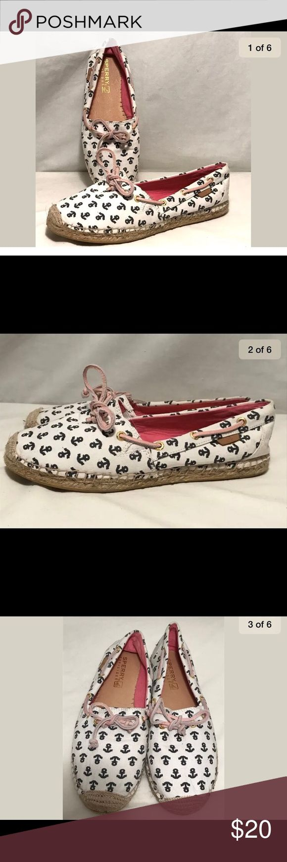 Sperry White Navy Blue Anchor Nautical Flats 8M Sperry White Navy Blue Anchor Nautical Hemp Ballet Loafer Comfort Shoes 8M Sperry Top-Sider Shoes Flats & Loafers