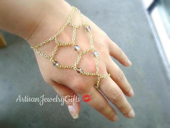 Bohemian slave bracelet gold net hand chain with grey opal Czech glass beads
