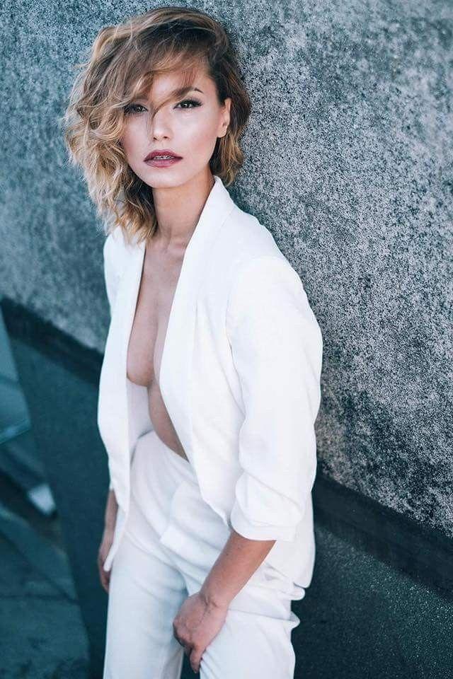 White tailleur fashion photography