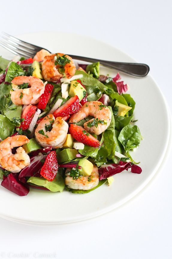 Seared Shrimp Salad with Jicama, Strawberries and Avocado from @cookincanuck