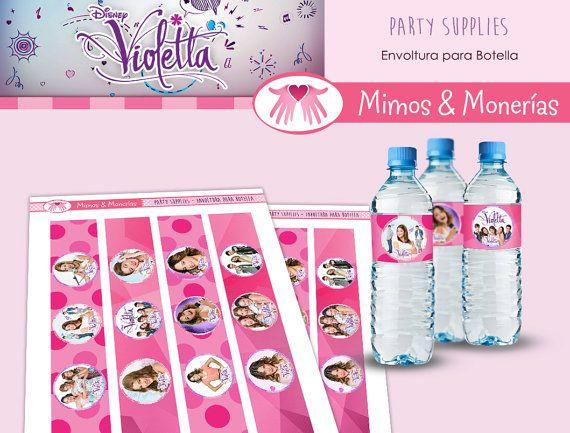 Violetta Bundle 1 - Water Bottle Labels - Digital Collage Sheet - Birthday Party Digital - Labels - Wrapper - Printable - INSTANT DOWNLOAD