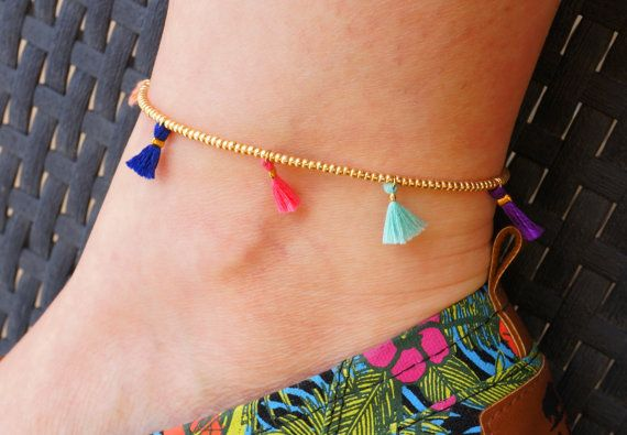 ♦ One of my favorite designs for 2014 !!! ♦ This anklet features: ►► Lots of seed beads in Gold Color. ►► 7 Handmade Tassels in Mint, Pink,