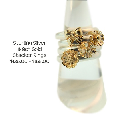 Sterling Silver stacker rings with unique 9ct Yellow Gold charms. Exclusively made at Cameron Jewellery