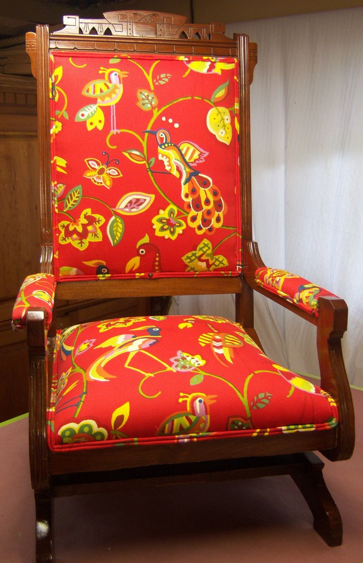 Victorian rocking chair - Restored Old Victorian Rocking Chair Re Upholstered With Modern Fabric