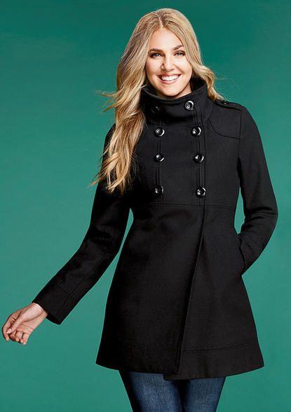 Funnel Neck Coat - Plus Size Outerwear/Jackets - Alloy Plus - Alloy Apparel