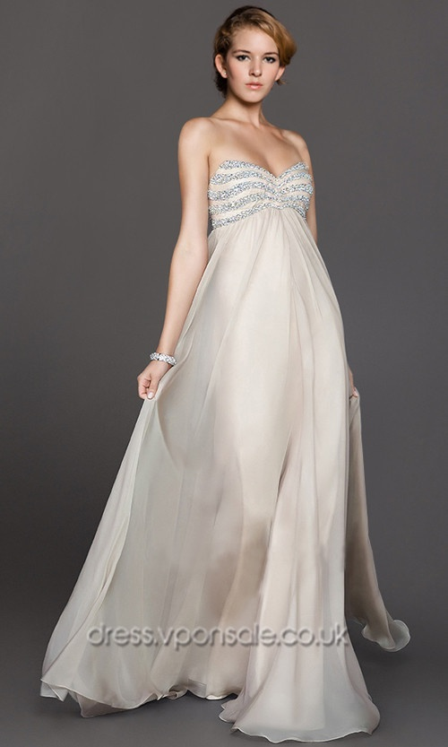 Beaded Strapless Nude A-line Prom Gowns