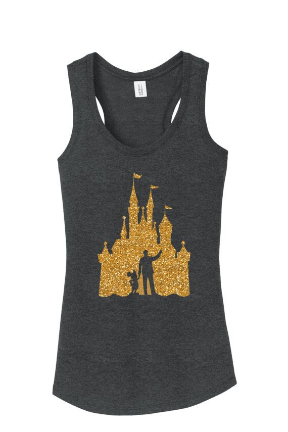 Walt Disney Mickey Mouse castle outline workout tank Disney shirt ladies woman plus misses tank top racerback run Disney workout tank