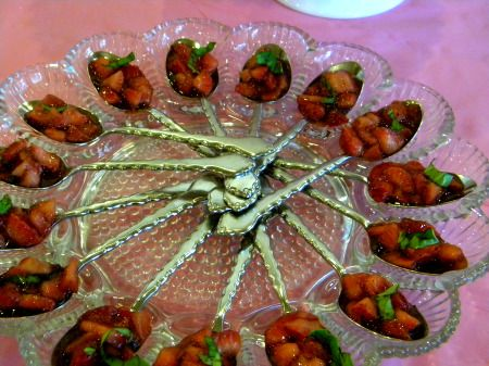 balsamic strawberries with basil... I love the spoonful appetizers served on a deviled egg dish!Showers, Shower Menu, Comida Baby, Decadent Chocolate, Baby Shower