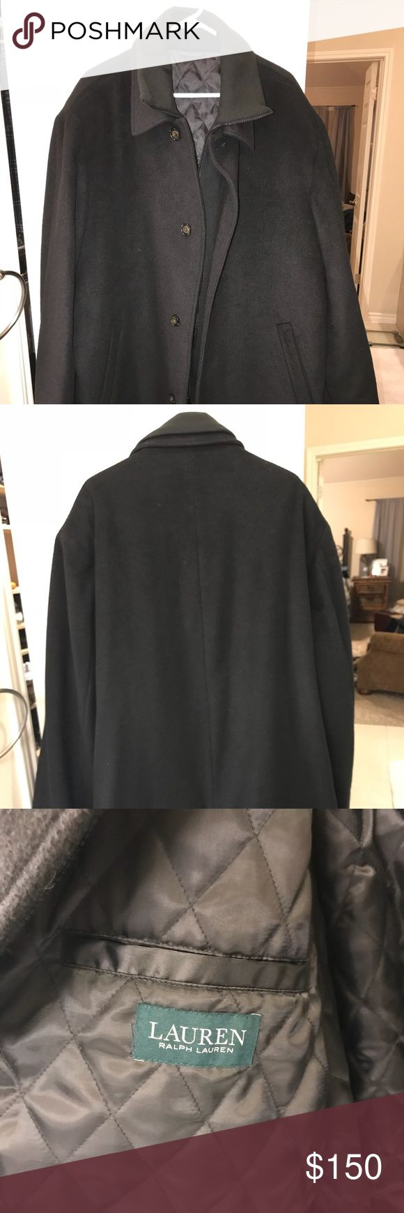 Ralph Lauren Men's Navy Pea Coat Fully lined, wool pea coat, only worn once for a business weekend. Pockets inside and out. Size 54R, my husband wears 3XL in shirts. Lauren Ralph Lauren Jackets & Coats Pea Coats
