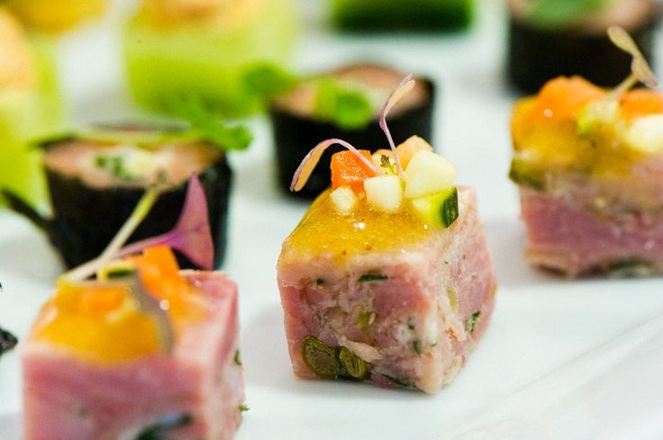 Ham hock terrine canapes. Fabulous! Christening ideas.