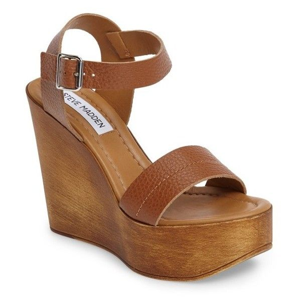 Women's Steve Madden Belma Wedge Sandal ($100) ❤ liked on Polyvore featuring shoes, sandals, tan leather, chunky platform sandals, steve madden sandals, chunky-heel sandals, tan sandals and wide sandals
