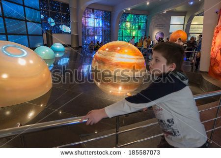 MOSCOW - MARCH 22 2014: Models of solar system in Planetarium,  in Moscow, Russia. Moscow Planetarium - one of world largest and oldest planetarium in Russia.  - stock photo