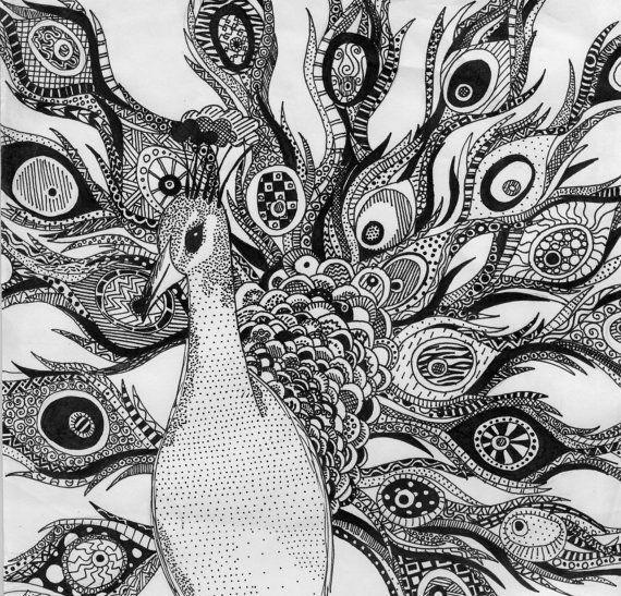 Графические рисунки павлины