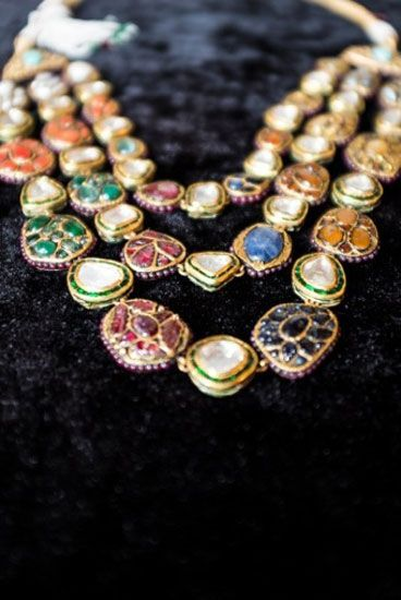 Polki married to colourful navratan stones is a classic wardrobe must-have. Shop for your wedding jewellery with Bridelan - a personal shopper & stylist for weddings. Website www.bridelan.com #Bridelan