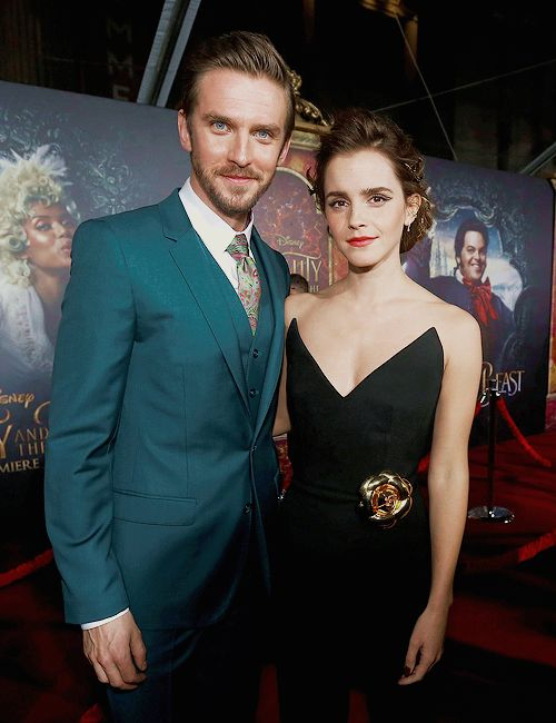 """Emma Watson & Dan Stevens at the """"Beauty and the Beast"""" Premiere held at the El Capitan Theatre in Hollywood Los Angeles, California on March 2, 2017. Pinned by @lilyriverside"""