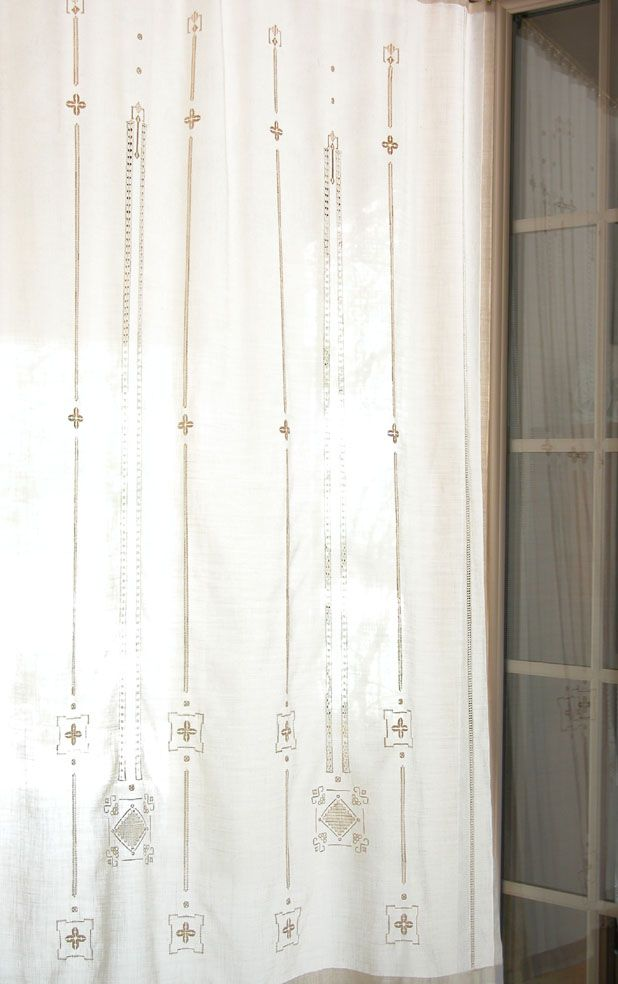 Embroidered Curtain With Drawn Thread Work And Punto Antico Motifs.