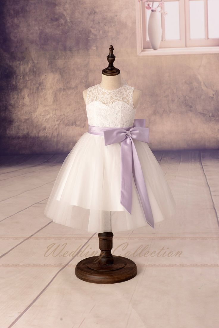 Lace Flower Girl Dresses, Tulle Flower Girls Dress With Lilac Sash and Bow by Weddingcollection on Etsy https://www.etsy.com/listing/229151413/lace-flower-girl-dresses-tulle-flower