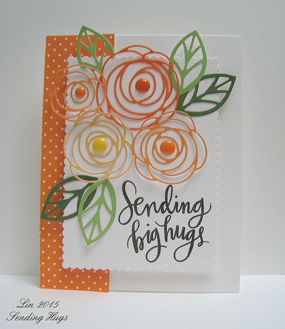 I love the photo inspiration this time over at the Share Joy Challenge .  Here's my card inspired by it:        supplies: white, oranges, an...