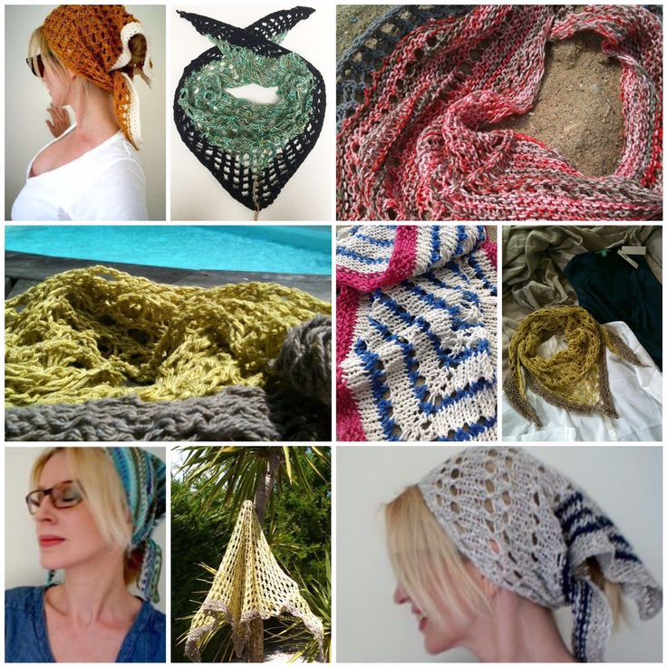 Womens summer handknitted triangle shawl, Linen, cotton, silk, St Tropez, by PETIT MORIC