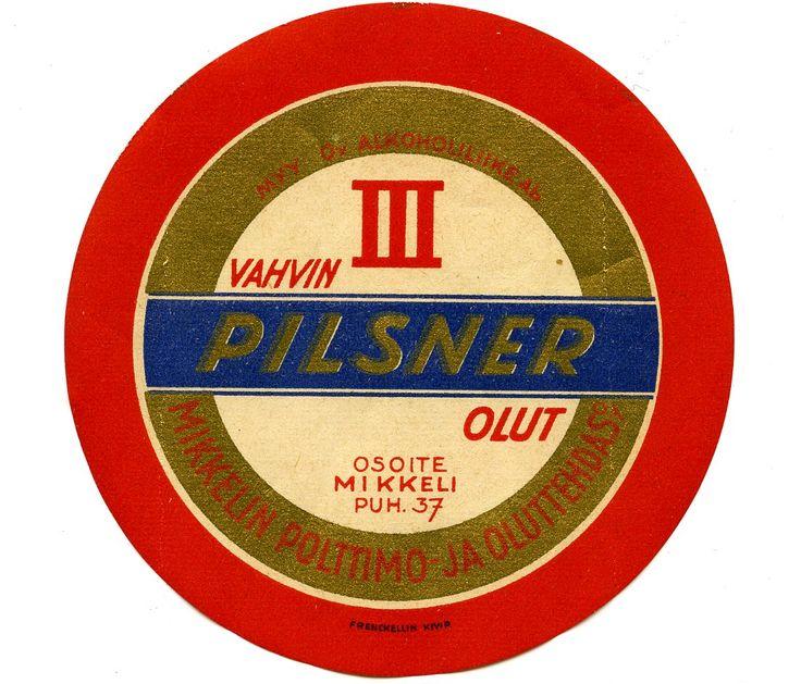 Pilsner, Mikkelin Polttimo- ja Oluttehdas #Mikkeli #olutetiketit #etiketit