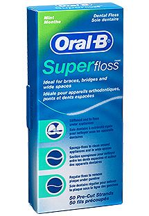 """Oral-B Super Floss®"" is an example of the new flossing technology made for cleaning braces, bridges and wide gaps between teeth. Its three unique components—a stiffened-end dental floss threader, spongy floss and regular floss—all work together! It's great for ANYBODY!"
