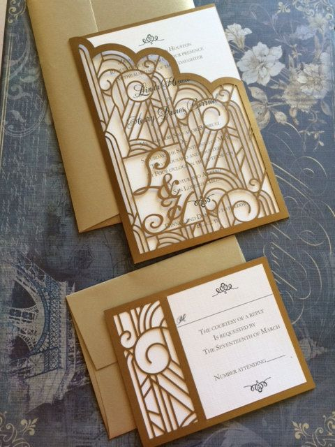 This listing is for lasercut art deco pattern wedding invitation complete with intricate detail and your monogram. Ideal for an elegant wedding