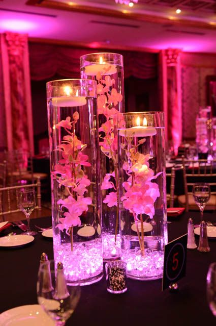 Pink Vases with Crystals Lights Orchids  Decor party in