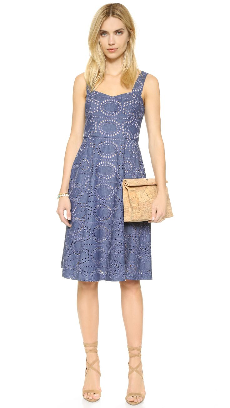 Cutouts and embroidery bring delicate detail to this feminine Shoshanna dress. Wide straps. Hidden back zip. Sand-tone lining.