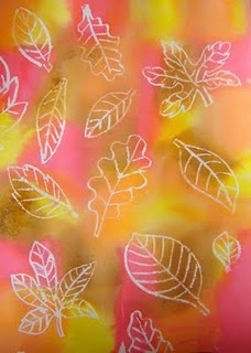 Autumn Tissue Paper Leaves - Draw different shapes of leaves w/white crayons on white drawing sheet. Tear parts of the different tissue paper colors (not too small) orange/red/yellow/brown. Stick pieces on by wetting drawing sheet part by part - laying the tissue pieces on it. Be sure the tissue paper is wet enough to bleed. No two same colors next to each other. Let the artwork dry a little. When still moist, pull off all paper. Wait until dry. Press flat by laying under heavy book.