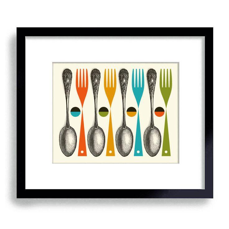 Kitchen Art Print, Mid Century Modern Kitchen Decor, Colorful Cooking Art Fork and Spoon Chef Art Kitchen Utensils Modern Art Wall  Art by DexMex on Etsy https://www.etsy.com/listing/160909236/kitchen-art-print-mid-century-modern