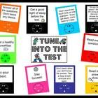 Test taking skills are highlighted in this rockin' bulletin board.  Each of the MP3 players has a testing taking tip on it.  Test Prep