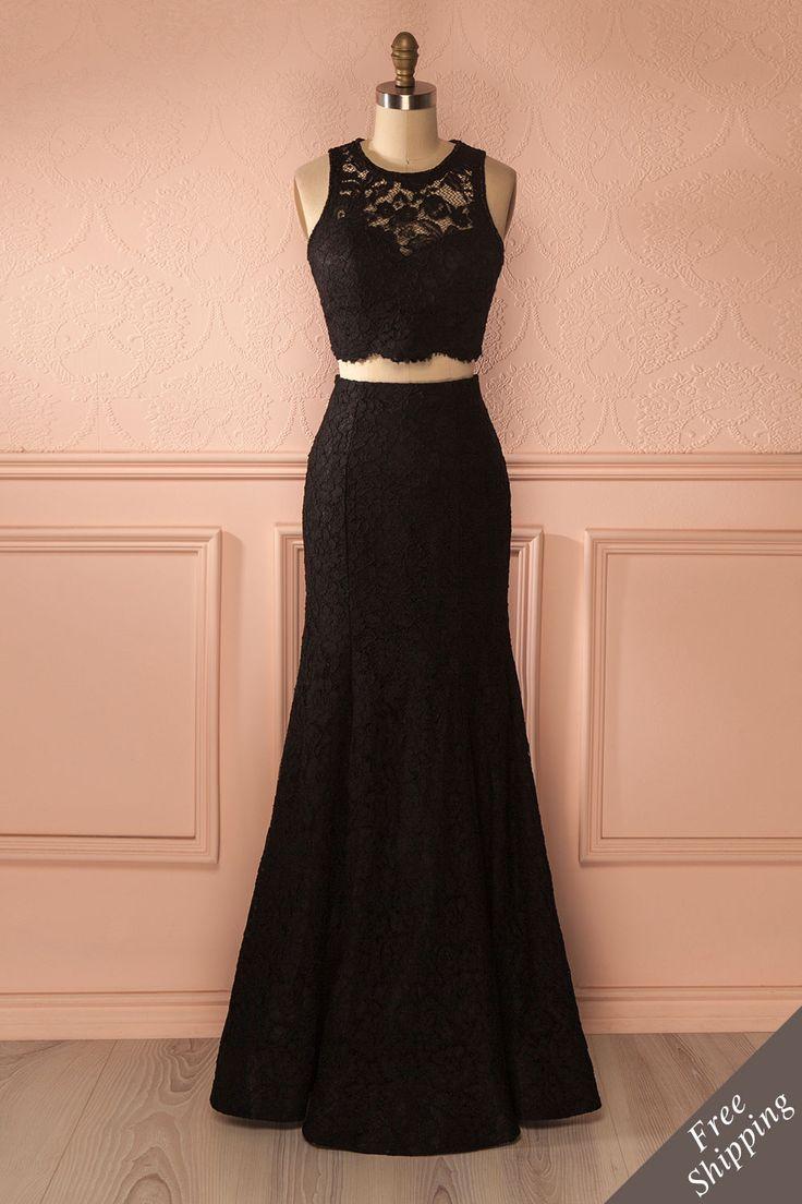 Élégant ensemble haut écourté et jupe de dentelle noire - Black lace crop top and mermaid skirt set