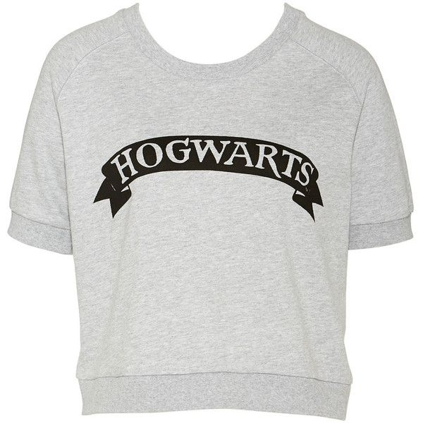 H.Potter Hogwarts Sweatshirt found on Polyvore featuring tops, hoodies, sweatshirts, shirts, blusas, crew neck shirt, short sleeve crew neck sweatshirt, crew neck tops, sleeve shirt and crewneck shirts