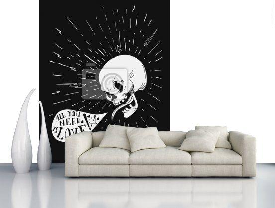 Hand drawn vintage tetování lebky s láskou citátu řeč v bublině fototapeta • fototapety citát, kost, sunburst | myloview.cz