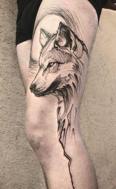 50 Of The Most Beautiful Wolf Tattoo Designs The Internet Has Ever Seen , sketchy wolf tattoo © tattoo artist L'oiseau ❤❤❤❤. Wolf Tattoos, Elephant Tattoos, Feather Tattoos, Animal Tattoos, Leg Tattoos, Wolf Tattoo Design, Tattoo Design Drawings, Tattoo Sketches, Tattoo Designs