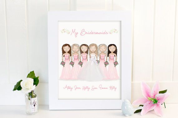 Bride and Bridesmaids Art Print  Bridesmaid by SweetCheeksImages $25.00+