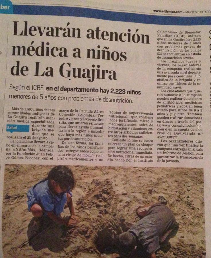 Seguimos trabajando x los niños de La Guajira porque #NiUnoMas debe morir por desnutrición @ELTIEMPO @PatrullaAerea