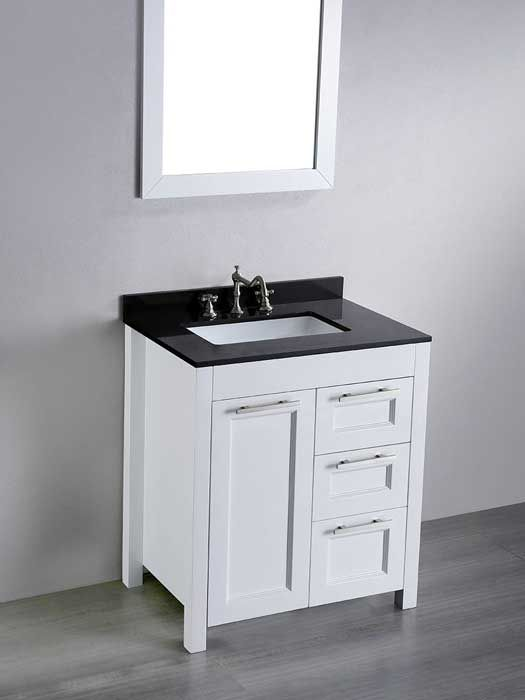 Awesome Websites Valencia White Modern Bathroom Vanity with Black Countertop