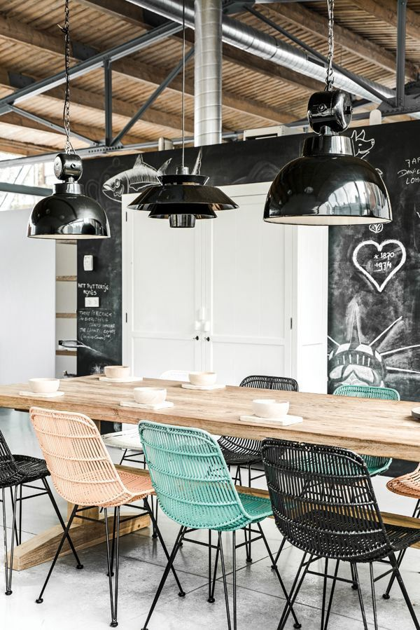 Exposed ceiling, chalkboard walls and fun lighting! Brought to you by LG Studio