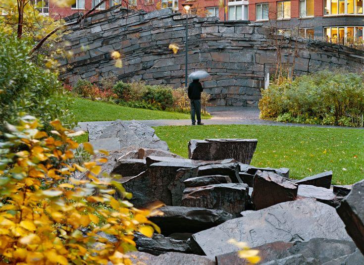 Stone Wall - Tear Drop Park by Michael Van Valkenburg
