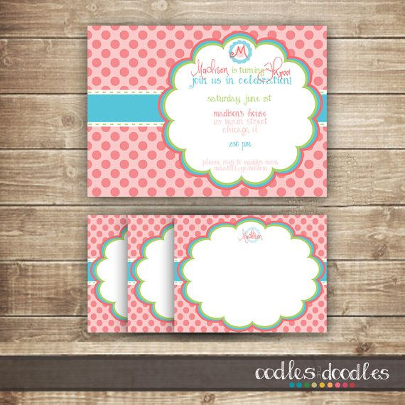 This sweet Pink and Turquoise Polka Dots Party Package contains all the perfect little personalized details for your little girls special birthday. -------