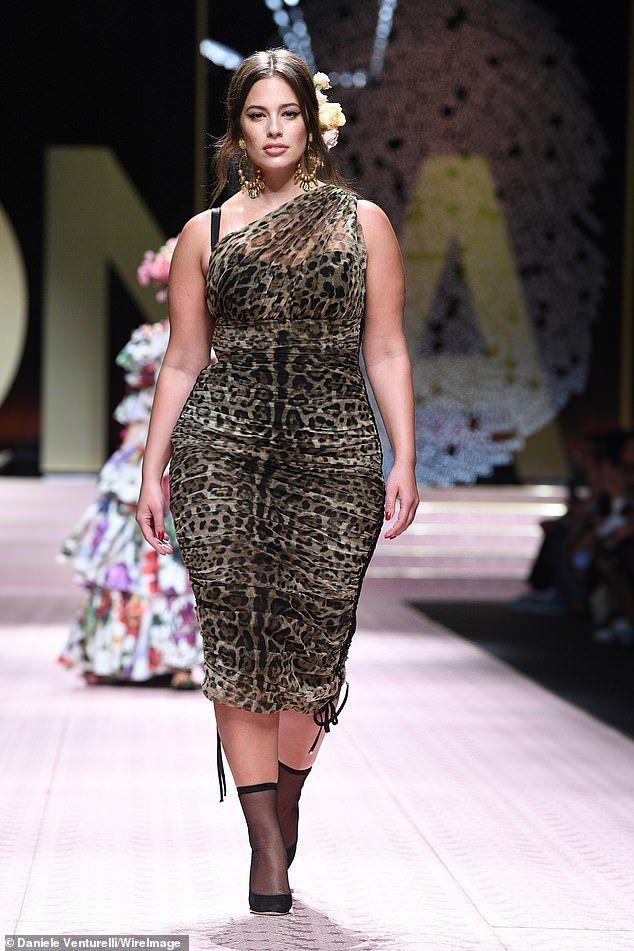 09563eaa Ashley Graham walks the runway at the Dolce & Gabbana show during Milan  Fashion Week