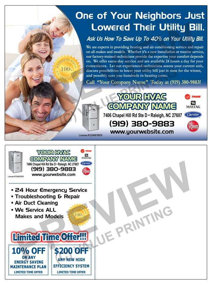Hvac Fall Furnace Tune Up Sales Postcard 2 Value Printing Hvac Air Conditioning Services Marketing Postcard