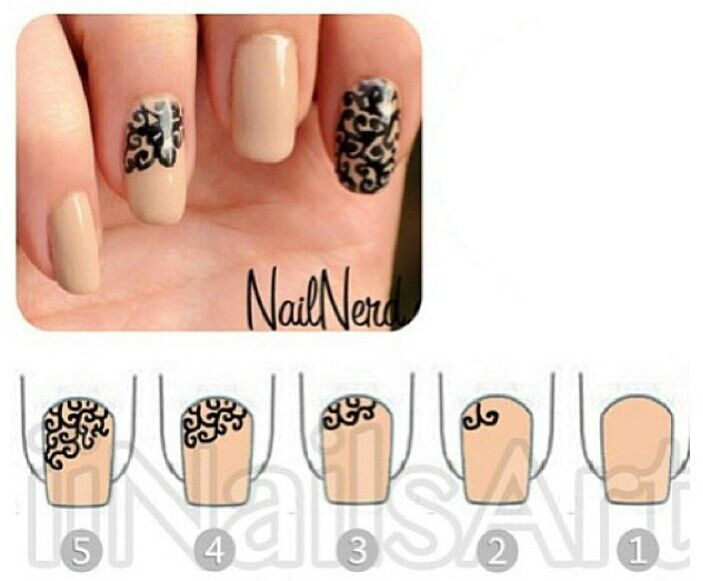 Spiral nails, lace nails, vine nails, designed nails