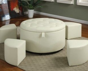 saving small spaces living room design using white round leather ottoman coffee table with storage and