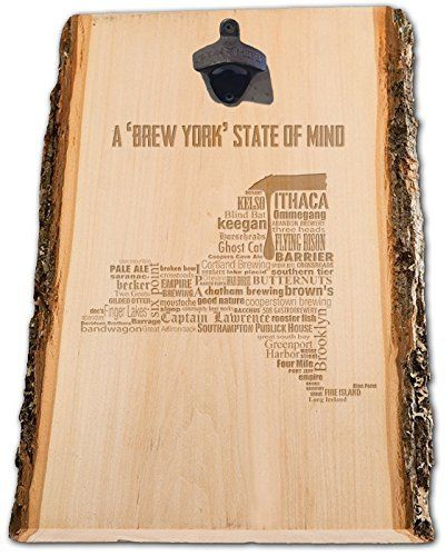 Rustic New York Craft Beer Typography Engraved Bottle opener, Brewery Sign, Wall Bottle opener, Beer Lover gift, man Cave gift, Gifts for dad, Gifts for him. This New York engraved bottle opener is a unique design, that is laser engraved on hand picked, kiln dried wood, with bark accents. A rustic, cast iron bottle opener is attached and you're unique bottle opener is ready to hang on the wall at home or in your man cave.
