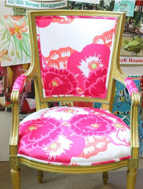 Gorgeous chair in Lilly Pulitzer Cherry Begonias. Love.