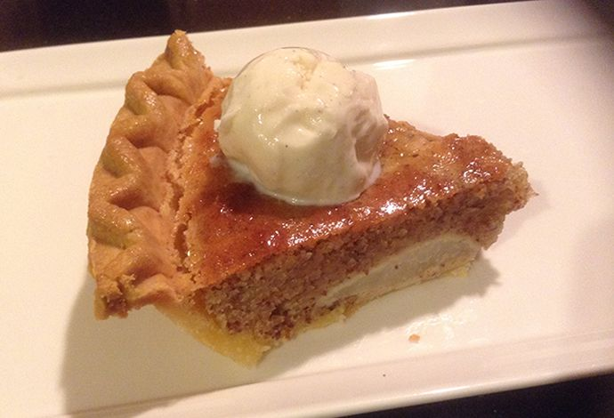 Gluten-Free Pear and Almond Pie: top with vanilla ice cream.